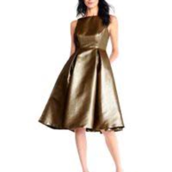 43523c9f9a8c Adrianna Papell Dresses | Metallic Cocktail Fit Flare Dress | Poshmark